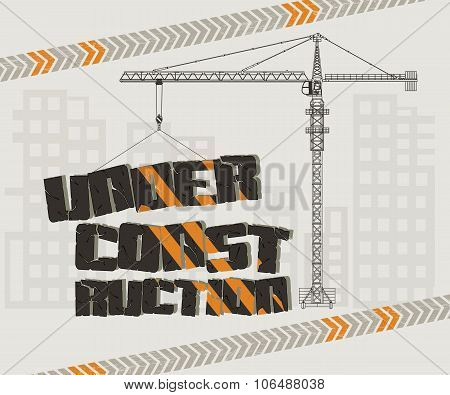 Under construction, crane and building