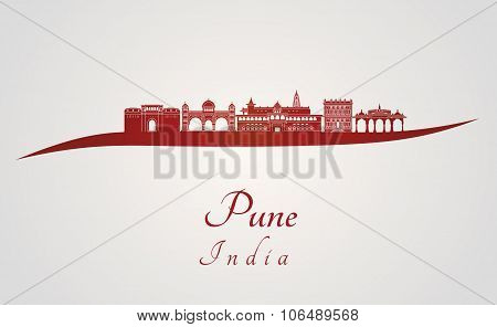 Pune Skyline In Red