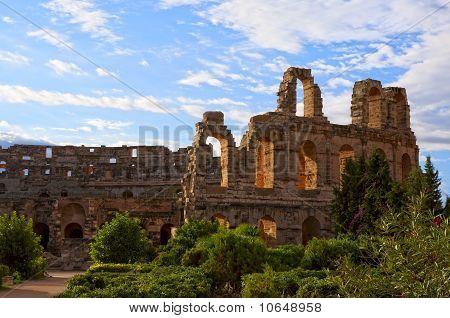 Ancient Roman amphitheater in El Jem, Tunisia