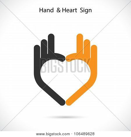 Creative Hand And Heart Shape Abstract Logo Design.hand Ok Symbol Icon.corporate Business Creative L