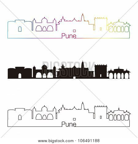 Pune Skyline Linear Style With Rainbow