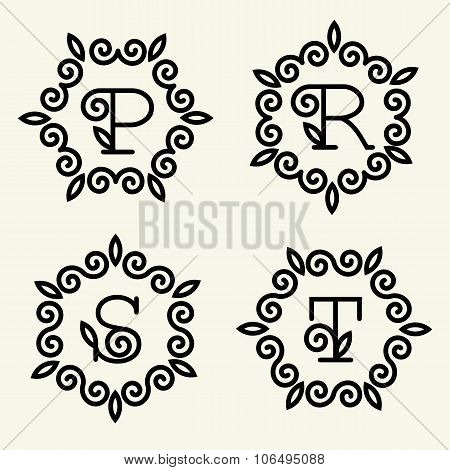 Set of modern monogram style linear with the letters P, R, S, T