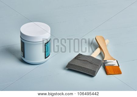 Painting Tools On A Worktable