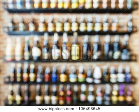 Blurred Wine Liquor Bottles Display On Shelf