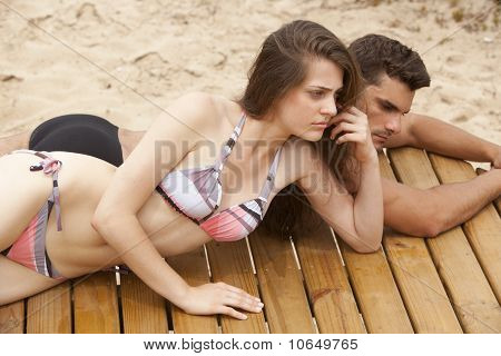 Young Couple On Sundeck