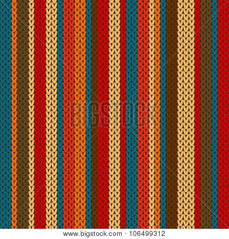 Vector striped pattern on the wool knitted texture