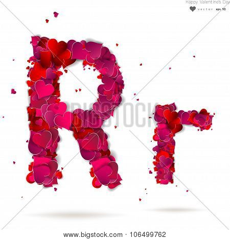 Letter R made from hearts. Love alphabet