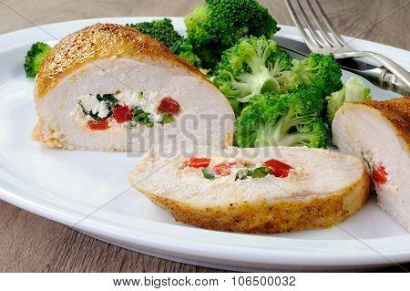 Chicken Breast Stuffed  Ricotta, Tomato And Spinach