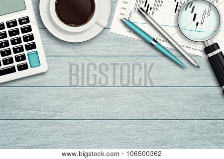 Workspace With Graph, Loupe, Calculator And Stationery