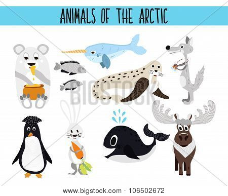 Set of Cute cartoon Animals and birds of the Arctic on a white background. Polar bear, Arctic wolf,