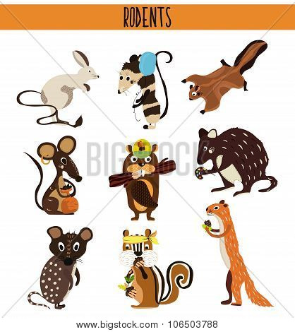 Cartoon Set of Cute Animals rodents living on the planet .Squirrel, mouse, opossum, Coney, beaver, C