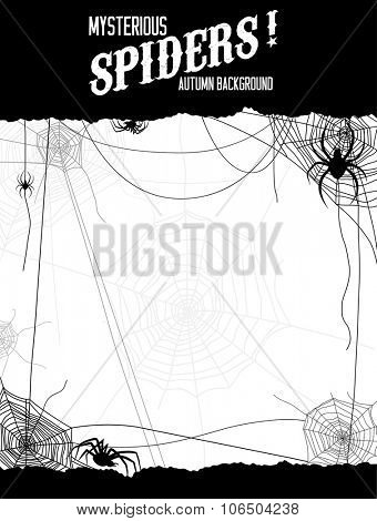Black and white illustration spiders and web. Design for card, banner, invitation, leaflet and so on.