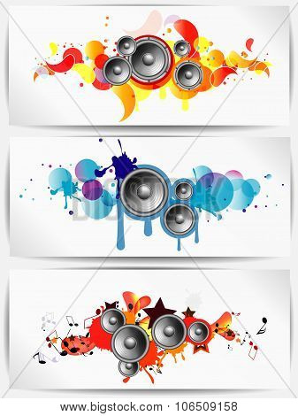 Set of musical grunge backgrounds with subwoofer