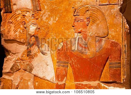 Artifact From Ancient Egypt - Relief Of Pharaoh Seti I In Front Of The God Osiris