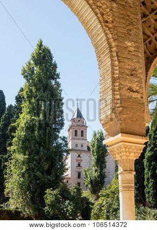 View Of Gardens In Alhambra In Granada  In Spain