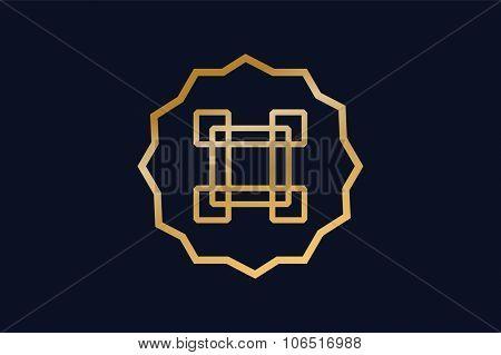 Royal logo vector abstract monogram template. Asian logo. Kings symbol. Royal crests monogram. Kings Top Premium brand boutique, Fashion monogram, star, cross icon. VIP monogram, luxure logo icon