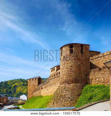Way of Saint James by Ponferrada Castle El Bierzo of Leon