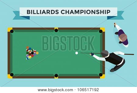 Billiards flat illustration. Billiards  pool game accessories. Billiards club, billiards table and billiards players. Billiard pool game balls icons set vector illustration. Billiards vector