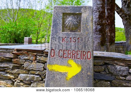 O Cebreiro by the way of Saint James sign in Galicia Spain