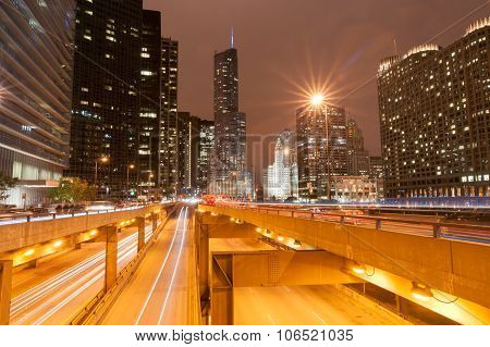 Chicago Buildings and highways at night.