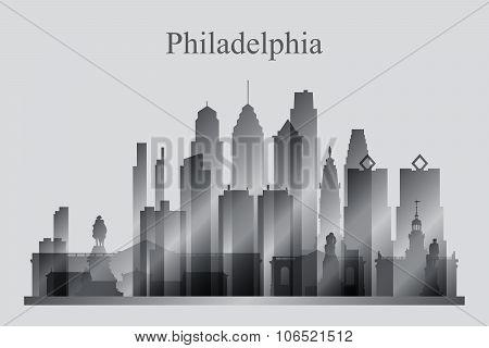 Philadelphia City Skyline Silhouette In Grayscale
