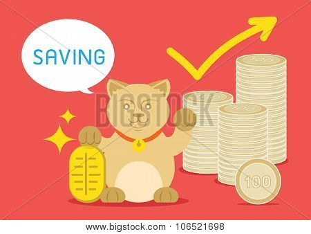 lucky catis standing with golden coin and money coin say saving word. poster