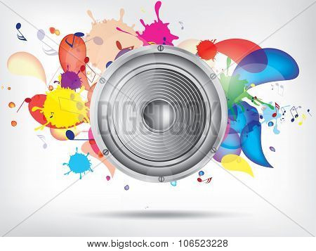 Music background with subwoofer. Abstract vector illustration with background.