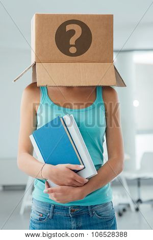 Insecure Female Student With A Box On Her Head