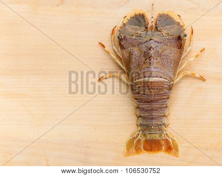 Raw Flathead Lobster, Lobster Moreton Bay Bug, Oriental Flathead Lobster On Wooden Background.