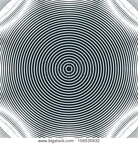 Decorative lined hypnotic contrast background. Optical illusion creative black and white graphic moire backdrop. poster