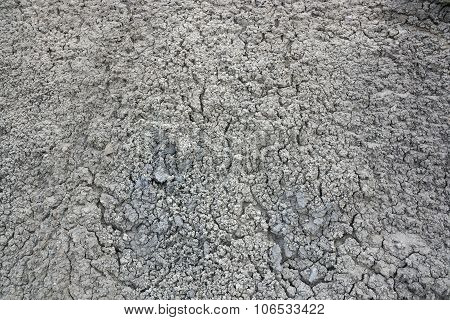 Abstract texture of cracked dry white dirt in Utah. poster