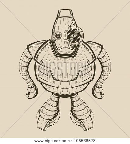 It is an image of cartoon  funny iron robot.