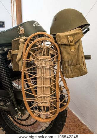 Winter Equipment Supplied To An Old Military Bike.