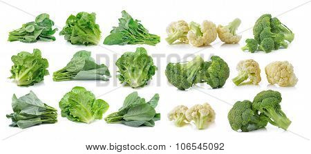 Chinese Broccoli , Cos, Broccoli And Fresh Cauliflower Isolated On White Background