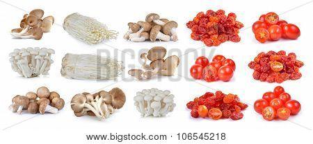 Red Cherry Tomatoes , Dried Tomato And Shiitake Mushroom , Enoki Mushroom, White Beech Mushrooms, Oy