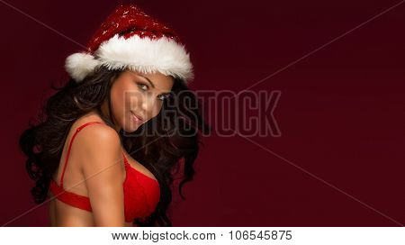 Sexy Santa Claus Woman Posing In Red Hat.