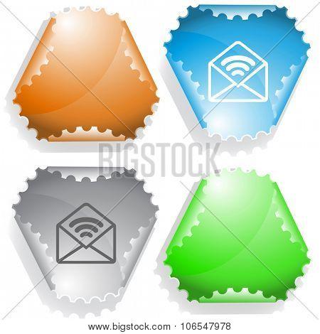 open mail with sound. Raster sticker.