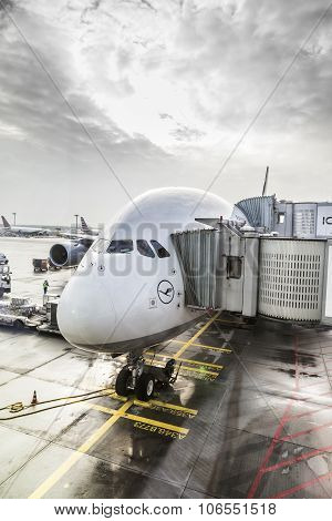 Lufthansa Airbus A380 At The Gate Of The Frankfurt Airport