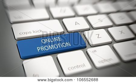 Online Promotion concept with white text - Online Promotion - on a large blue enter key on a white computer keyboard viewed high angle at an oblique angle with blur vignette for focus. 3d Rendering.