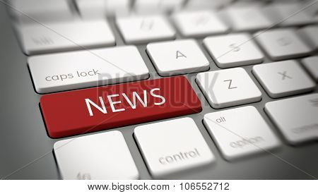 Internet or online News concept with white text - News - on a large red enter key on a white computer keyboard viewed high angle at an oblique angle with blur vignette for focus. 3d Rendering.