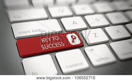 Key to Success concept with white text - Key to Success - and a key icon icon on a red enter key on a white computer keyboard viewed high angle at a angle with blur vignette for focus. 3d Rendering.
