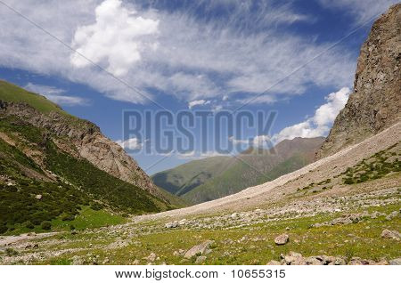 Mountains and blue sky with clouds