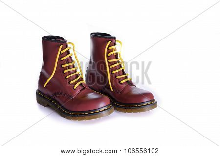 Classic Cherry Red Oxblood Lace-up Boots With Yellow Laces