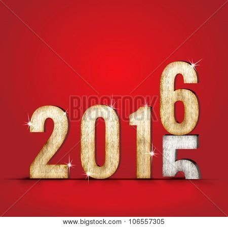 2015 Wood Number Year Change To 2016 Year In Red Studio Room, New Year Concept