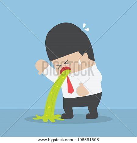 Sick Businessman Vomiting On The Floor