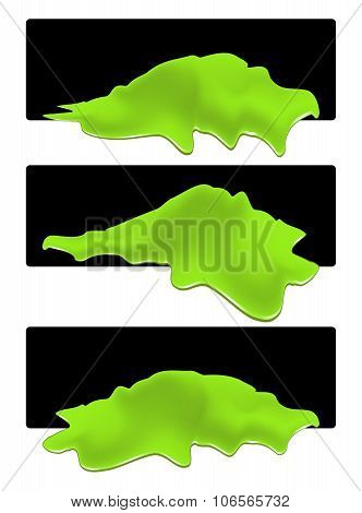 Puddle Of Toxic Spill Web Banner. Green Chemical Stain, Plash, Drop. Vector Illustration Isolated On