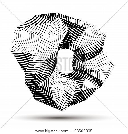 Spatial Vector Monochrome Object Isolated, 3D Technology Figure With Geometric Gray Lines.