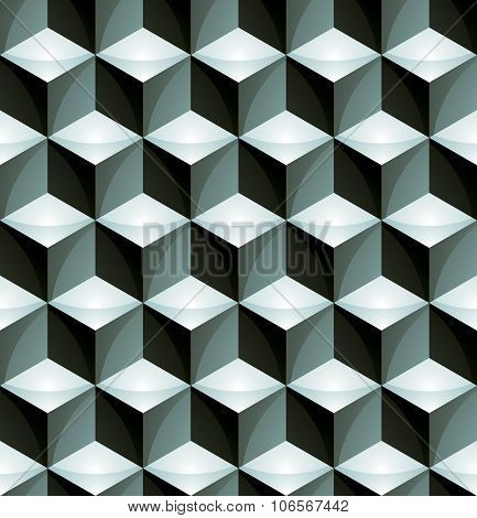 Regular colorful textured endless pattern with three-dimensional cubes continuous geometric background. poster