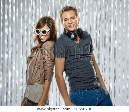 Picture of a stylish couple dancing in the nightclub