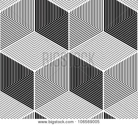 Regular Contrast Endless Pattern With Intertwine Three-dimensional Figures, Continuous Geometric
